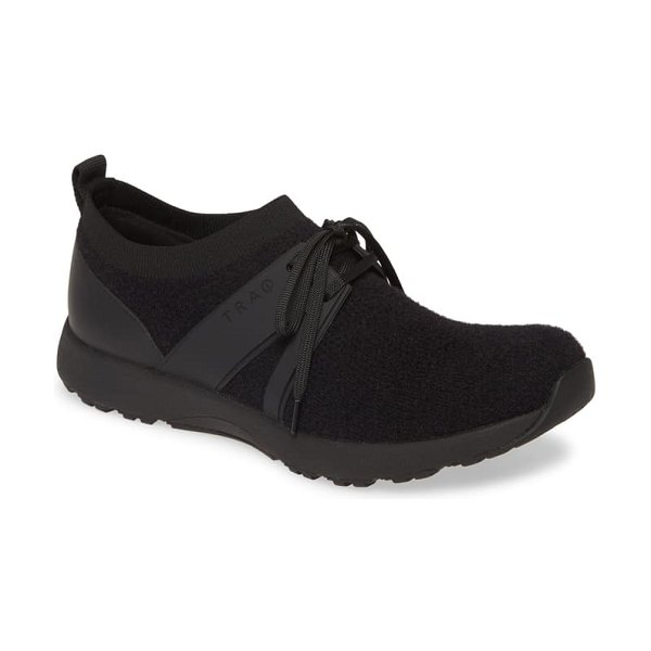 Alegria qool water resistant knit sneaker in the fuzz black fabric