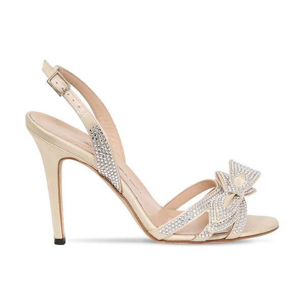Alessandra Rich 105mm embellished satin sandals in ivory - 105mm Satin covered heel. Adjustable buckle closure....