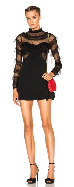 ALESSANDRA RICH Cady & Feathers Dress in black - Self: 64% viscose 33% acetate 3% elastan - Contrast...