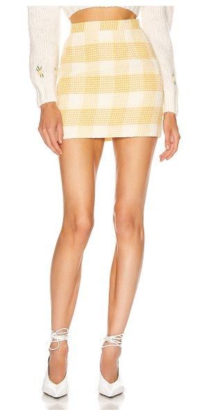 Alessandra Rich check tweed mini skirt in yellow