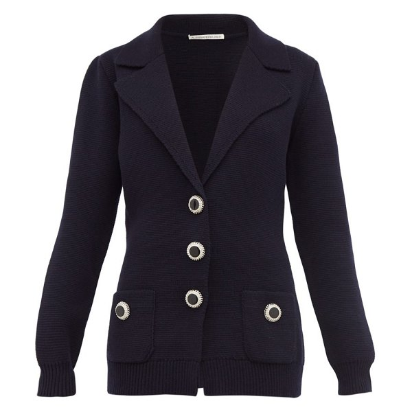 Alessandra Rich crystal button wool cardigan in navy