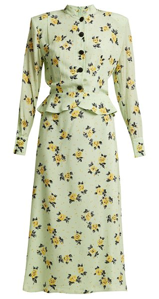 Alessandra Rich Rose-print peplum silk dress in light green - There's an air of 1940s elegance to this Alessandra Rich...