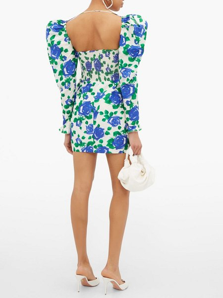 Alessandra Rich rose-print sweetheart-neck silk mini dress in blue white