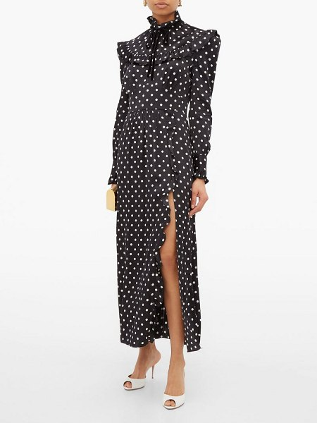 Alessandra Rich ruffled polka-dot silk-charmeuse dress in black white