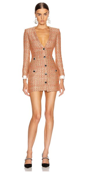 Alessandra Rich v neck sequin tweed mini dress in coral & gold