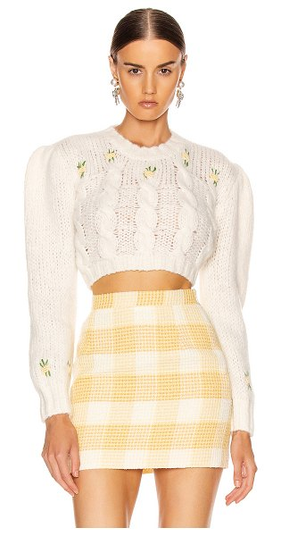 Alessandra Rich wool floral sweater in white