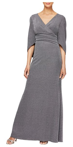 Alex Evenings cape sleeve metallic twill gown in pewter