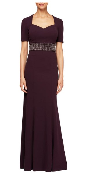Alex Evenings embellished gown in aubergine