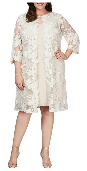Alex Evenings embroidered mock jacket cocktail dress in taupe