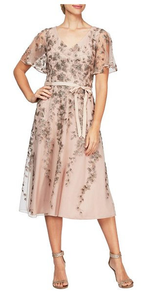 Alex Evenings embroidered tulle a-line dress in mocha