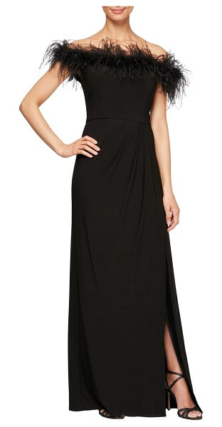 Alex Evenings feather trimmed off the shoulder gown in black royal