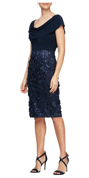 Alex Evenings floral detail cocktail dress in navy