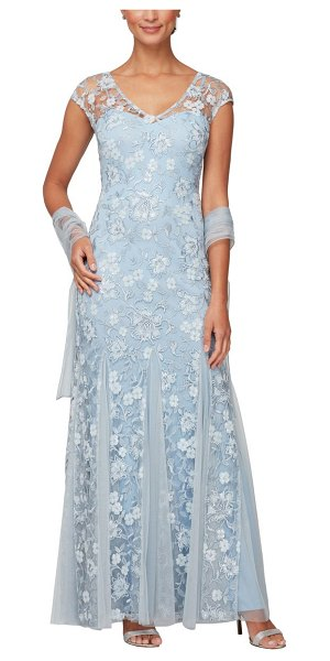Alex Evenings floral embroidered a-line gown with shawl in light blue