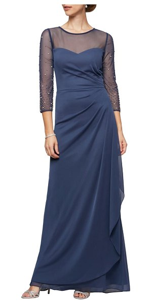 Alex Evenings illusion lace beaded detail a-line gown in wedgewood