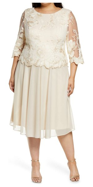 Alex Evenings illusion sleeve embroidered midi dress in taupe