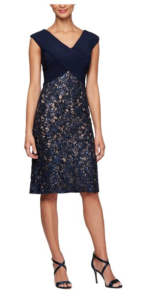 Alex Evenings pleat & sequin lace cocktail dress in navy/ nude