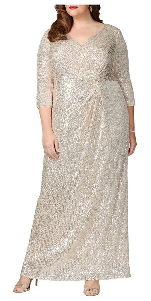 Alex Evenings sequin column gown in taupe