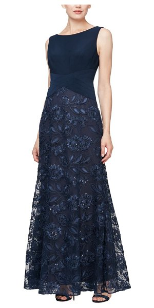 Alex Evenings sleeveless beaded gown in navy