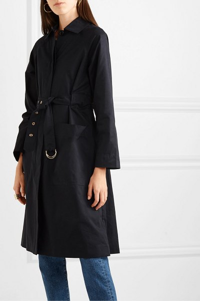 ALEX MILL channel belted cotton-blend gabardine trench coat in navy
