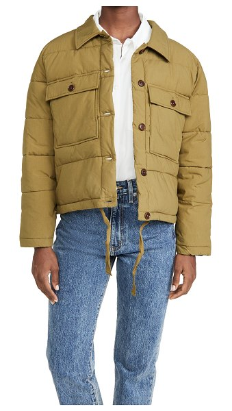 ALEX MILL quilted cropped jacket in olive green