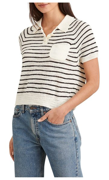 ALEX MILL stripe short sleeve sweater in black/ white flower