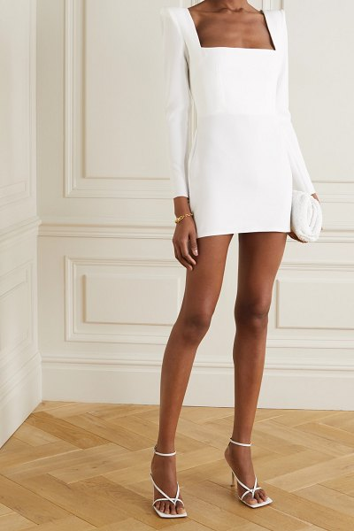 Alex Perry aaron crepe mini dress in white