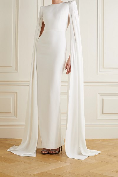 Alex Perry alder cape-effect pleated satin-crepe gown in white