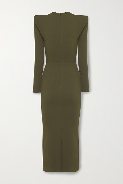 Alex Perry ambrose crepe midi dress in army green