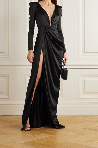 Alex Perry bentley draped silk-blend satin gown in black