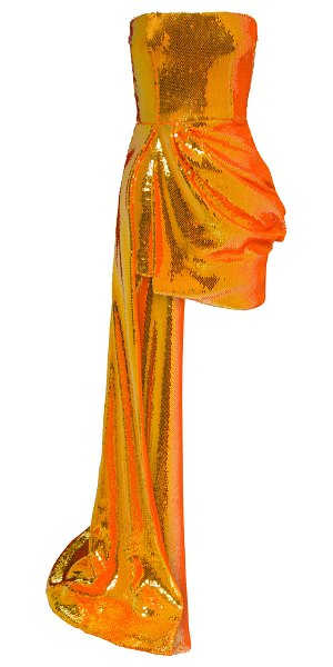Alex Perry blaine drape-detailed sequined straples mini dress in orange