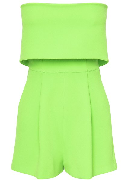 Alex Perry darby overlay crepe strapless romper in green