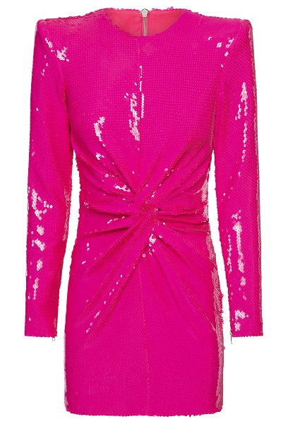 Alex Perry jade sequin-embellished ruched mini dress in pink