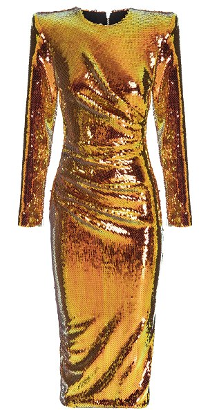 Alex Perry kelsey sequin-embellished ruched midi dress in gold