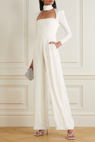Alex Perry morgan cutout crepe jumpsuit in white