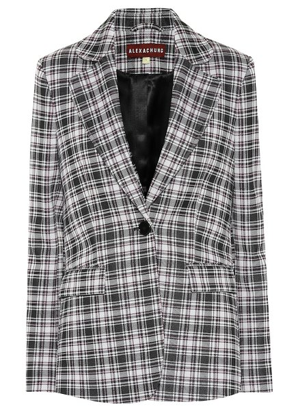 ALEXACHUNG Plaid blazer in black - ALEXACHUNG offers a tailored twist on a punk favorite,...