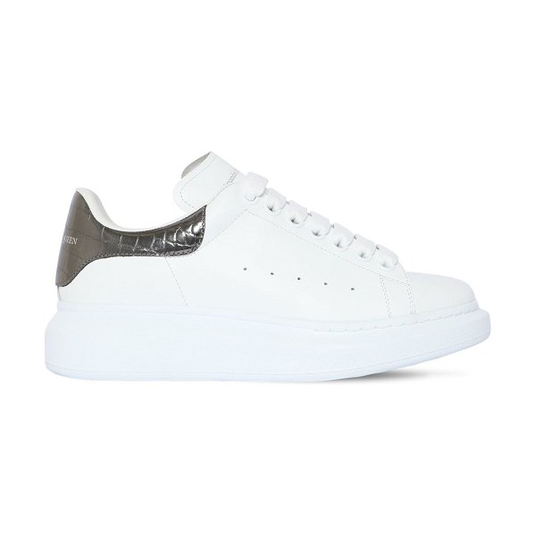 Alexander McQueen 40mm croc embossed leather sneakers in white,silver
