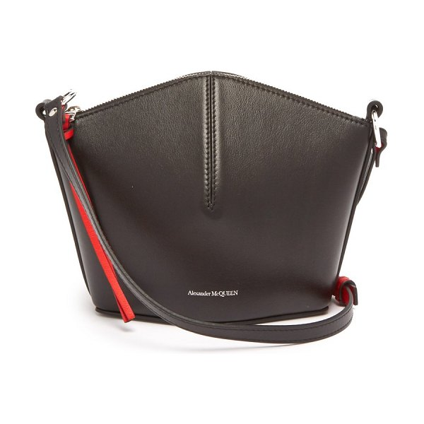 Alexander McQueen leather cross body bag in black red