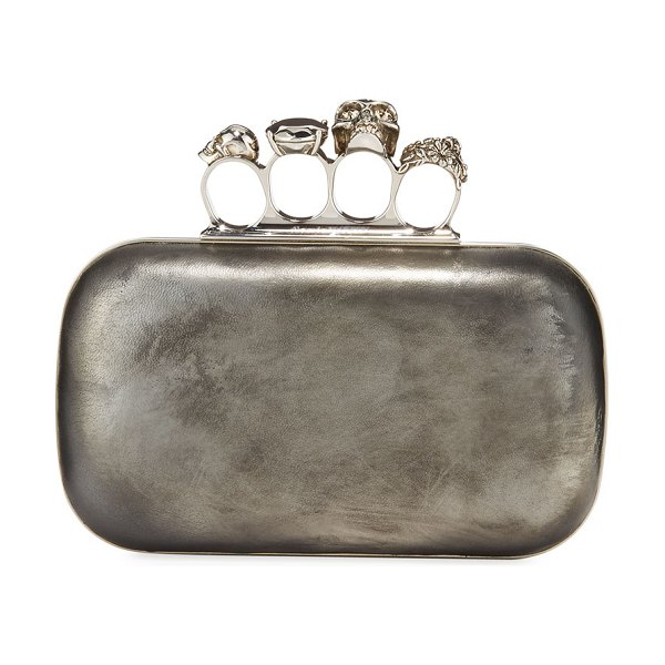 Alexander McQueen Antiqued 4-Ring Knuckle Clutch Bag in silver