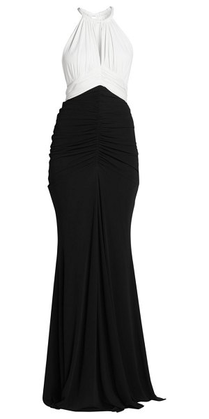 Alexander McQueen bi color ruched sleeveless gown in black ivory