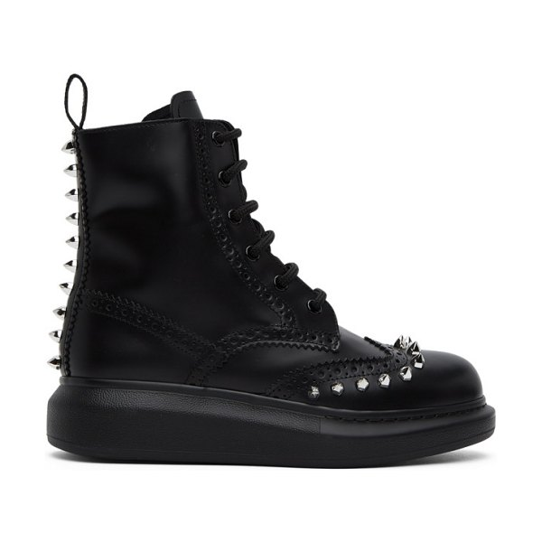 Alexander McQueen black stud leather hybrid brogue boots in 1081 bl,sil