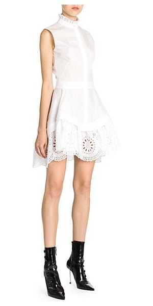 Alexander McQueen broderie anglaise mini dress in white - This sleeveless shirt dress is reworked with a beautiful...