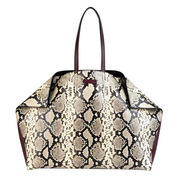 Alexander McQueen butterfly snakeskin-embossed leather tote in neutral