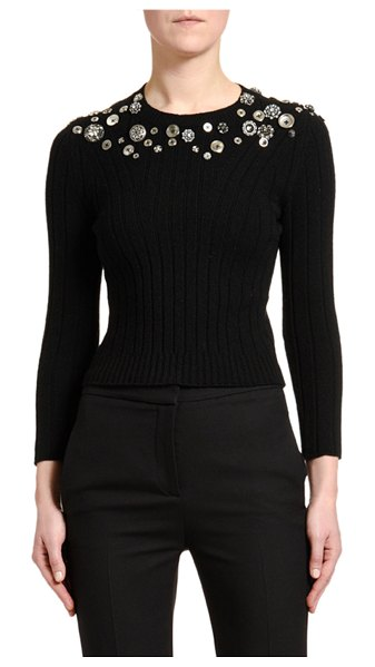 Alexander McQueen Button-Embroidered Bracelet-Sleeve Sweater in black