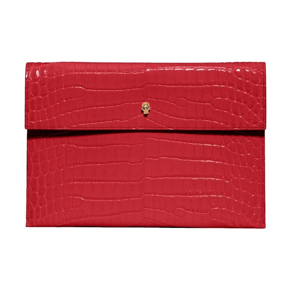 Alexander McQueen croc embossed leather envelope clutch in deep red