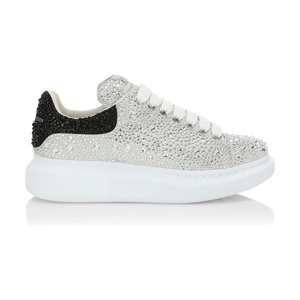 Alexander McQueen crystal overiszed glitter embellished chunky sneakers in white silver