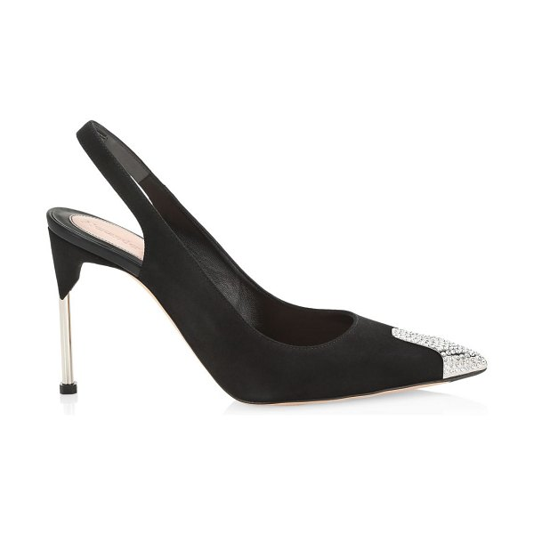 Alexander McQueen crystal point-toe leather slingback pumps in black