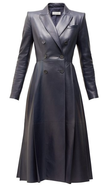Alexander McQueen double breasted pleated leather coat in navy