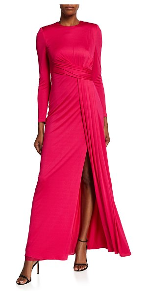 Alexander McQueen Draped Jersey Gown in fuchsia