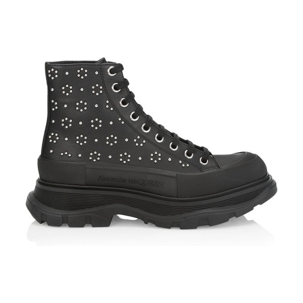 Alexander McQueen embellished leather combat boots in black silver