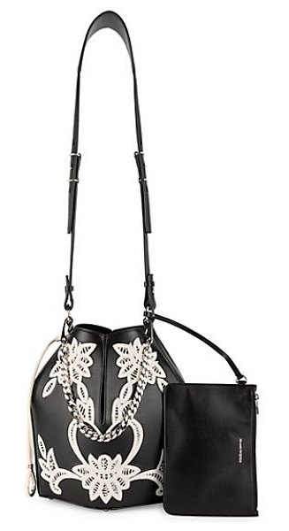 Alexander McQueen embroidered leather bucket bag in black multi - Sleek leather structured bucket bag adorned with a...